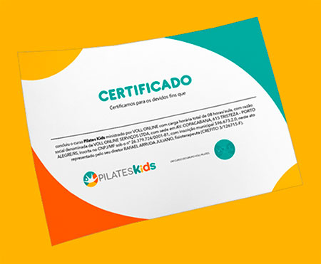 Certificado do Curso Pilates Kids